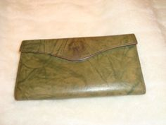 Vintage Buxton Top Grain Green Leather Clutch Wallet W/Coin Purse #Buxton #CoinPurse