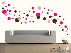 multi colored polka dot wall decal -etsy