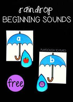 Raindrop Beginning Sound Match - Playdough To Plato