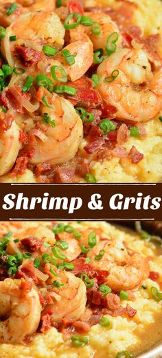 Shrimp and Grits - - Shrimp and Grits is a wonderful southern classic that consists of buttery, cheesy grits topped with juicy shrimp that's been cooked with bacon and sub dried tomatoes. Shrimp and Grits Amy Southern Shrimp And Grits, Shrimp And Cheesy Grits, Shrimp N Grits, Best Ever Shrimp And Grits Recipe, Cajun Grits Recipe, Charleston Shrimp And Grits Recipe, Best Shrimp And Grits Recipe, Gastronomia, Gourmet