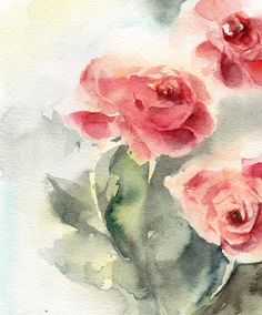 Roses Original Watercolor Painting Watercolour by CanotStop