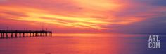 Pier in the Ocean at Sunset, Caspersen Beach, Sarasota County, Venice, Florida, USA Photographic Print by Panoramic Images at Art.com
