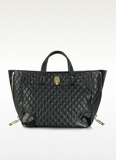 Silence Black Quilted Leather Tote - Philipp Plein