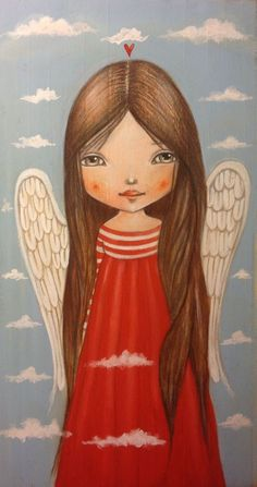 """noticed that sometimes when we aren't actively searching for something, what we seek, finds us."""" ― Darryl Webb~~ illustration by Ankakus Engel Illustration, I Believe In Angels, Ange Demon, Angels Among Us, Guardian Angels, Angel Art, Whimsical Art, Folk Art, Art Drawings"""