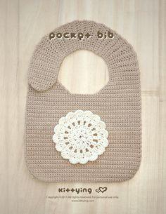 Pocket Bib Crochet PATTERN by kittying.com from mulu.us | Be a pretty baby girl with crocheted Little Flower Bib.