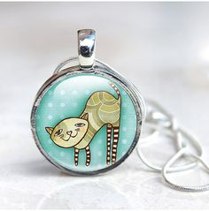 Cat Necklace, Cute Cat Pendant Glass Dome Necklace, Cute, illustration, Cat Jewellery, Cute Cartoon Cat, illustration, picture necklace