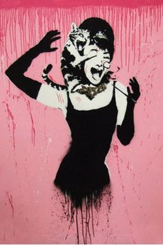 Audrey Hepburn Attacked by Cat by Banksy Canvas Print by Banksy Street Art on Banksy Graffiti, Street Art Graffiti, Bansky, Graffiti Tattoo, Banksy Canvas Prints, Canvas Artwork, Wall Art Prints, Canvas Canvas, Canvas Fabric