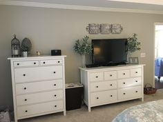 Before- wall with IKEA Hemnes dresser and chest - DIY Furniture Couch Ideen Bedroom Decor On A Budget, Tv In Bedroom, Trendy Bedroom, Home Decor Bedroom, Ikea Bedroom Design, Ikea Bedroom Furniture, Home Furniture, Hemnes Ikea Bedroom, Ikea Dresser Hemnes