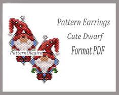 Peyote Earrings Pattern Cute Dwarf for bead weaving, Beaded Pattern Cute Dwarf, beading Tutorial earrings of weaving Christmas earrings Bead Crochet Patterns, Bead Embroidery Patterns, Peyote Patterns, Weaving Patterns, Mosaic Patterns, Art Patterns, Color Patterns, Beaded Earrings Patterns, Jewelry Patterns