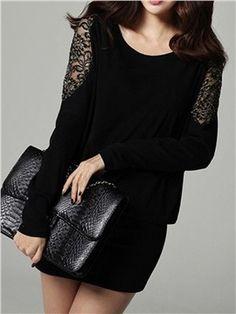 vestimenta informal ericdress manga del batwing del negro del cordón del remiendo