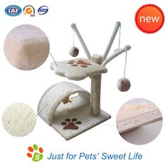 Sweet middle cat tree, made of natural plush and sisal.