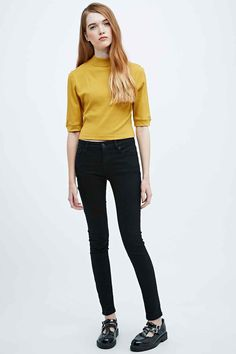 Cooperative Ribbed Crop Turtle-Neck Top