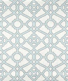 P. Kaufmann Pavilion Fretwork Tropical Blue Fabric - $19.55   onlinefabricstore.net