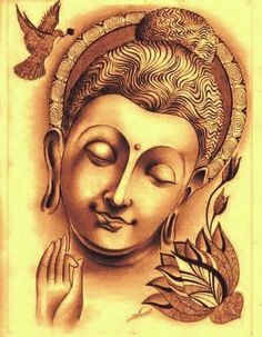 Buddha Wall Painting, Budha Painting, Buddha Artwork, Canvas Painting Projects, Buddha Canvas, Coffee Painting, Indian Art Paintings, Sketch Painting, Egyptian Art