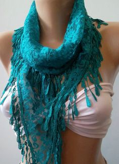 Turquoise / Elegance  Shawl - Scarf with Lacy Edge-