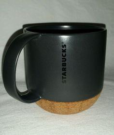 STARBUCKS BLACK CHARCOAL GREY  & CORK COFFEE MUG COCOA TEA CUP 12OZ NO LID 2013 #Starbucks