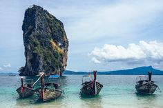 Thailand is home to some of the most amazing beaches in the world – and it's said that the prettiest of them all are in the region of Krabi. Railay Beach, Krabi Thailand, Thailand Travel, Tiny Paradise, Ao Nang, Beaches In The World, Beach Fun, Phuket