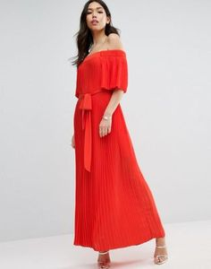ASOS Pleated Off Shoulder Maxi Dress