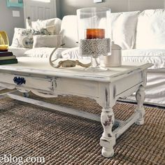 Shabby chic white coffee table re-do