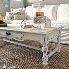 HOME DECOR – IDEAS – Shabby chic white coffee table re-do