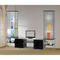 tempered glass bookcase entertainment center | Entertainment Center with tempered Glass in Black Finish