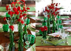 Garrafas de vinho, cerveja e outras bebidas valem também na decoração de Natal. Esta mesa ficou simplesmente lindíssima e barata!!!