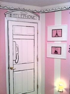this room is adorable! i love all the hand painted french accents!!