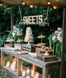 34 Mouth-watering Wedding Dessert Table Ideas – Amaze Paperie - Decoration Home Candybar Wedding, Dessert Bar Wedding, Wedding Table, Wedding Sweets, Wedding Cupcake Table, Wedding Favors, Rustic Wedding Desserts, Wedding Invitations, Wedding Souvenir
