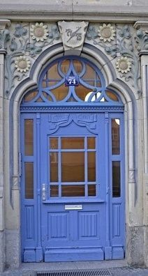 Erfurt, Thuringia, Germany- blue door with carved flowers above Grand Entrance, Entrance Doors, Doorway, Door Entryway, Cool Doors, Unique Doors, Door Knockers, Door Knobs, Porte Cochere