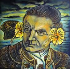 michel tuffery - Samoan artist  Captain Cook with hibiscus