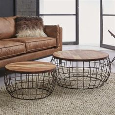 A lovely set of 2 coffee tables with an airy wire frame and mango wood for the table top. Combine this lovely coffee table set with other industrial furniture from our assortment. Garden Coffee Table, Teak Coffee Table, Large Coffee Tables, Living Room Table Sets, Boho Living Room, Wicker Table, My New Room, Living Room Designs, Bedroom Decor