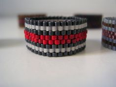 handmade woven striped band ring of delica beads