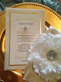 Classic Elegant Wedding menu with textured matting layer and gold foil http://www.theeventessentials.com/