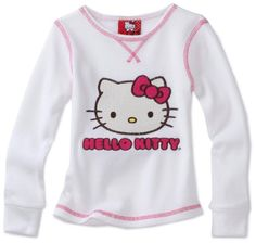 Hello Kitty Girls 7-16 Long Sleeve Thermal Top with Chainstitch Applique, Bright White, 12-14 for $12.81