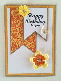 Fødselsdagskort, gul/orange