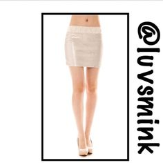 IVORY SEQUIN MINI SKIRT - SMALL Nothing is more glamorous than a sparkling Ivory sequin skirt. Imagine all the different ways to wear this and mix and match for dress up or fun times too.  Elastic pull on waist with detailed waistband, sits just below naval, and is completely lined for comfort and wear. Skirt is 16 inches in length, so perfect with tights and leggings with booties or over the knee boots too. no hold or trades.  PRICE IS FIRM, UNLESS BUNDLED. THIS LISTING IS A SIZE SMALL…