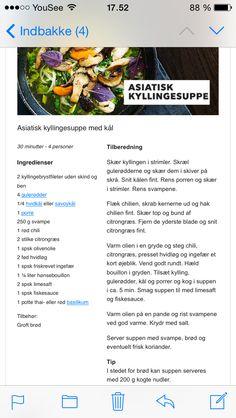 Asiatisk kyllingesuppe. Aftensmad efterår suppe kylling svampe champignon