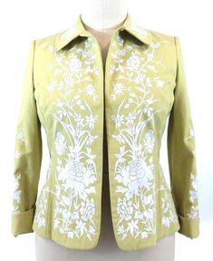 Ellen Tracy Jacket SIZE 12 Green Embroidered Floral Lined Fold Back Cuffs #EllenTracy #Blazer