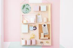 DIY Organization Board ~ Turn a wood board into an Anthropologie inspired wall organizer by adding cups, boxes, clips, and knobs! Diy Organizer, Diy Organisation, Organizing, Diy Rangement, Diy Tutu, Diy Room Decor, Wall Decor, Diy Furniture, Easy Diy