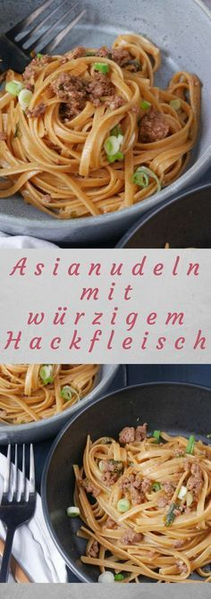 Asianudeln mit spicy Hackfleisch Recipe for Asian noodles with hack. Tasty also with Fisolen. Asian Noodle Recipes, Asian Recipes, Meat Recipes, Healthy Recipes, Drink Recipes, Minced Meat Recipe, Asian Snacks, Asian Noodles, Carne Picada