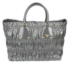 New in - Prada Vernice Gauffre Ematite Patent Tote Bag at Starbags.eu