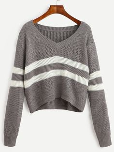 Shop Grey Striped V Neck Crop Sweater online. SheIn offers Grey Striped V Neck Crop Sweater & more to fit your fashionable needs. - Pullovers Sweater - Ideas of Pullovers Sweater Bauchfreier Pullover, Cropped Pullover, Pullover Sweaters, Cropped Top, Striped Long Sleeve Shirt, Long Sleeve Crop Top, Long Sleeve Sweater, Long Sleeve Shirts, Crop Top Sweater