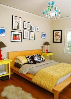 Mid Century Bed White Walls Bold Pops Of Color Red Lamps Yellow