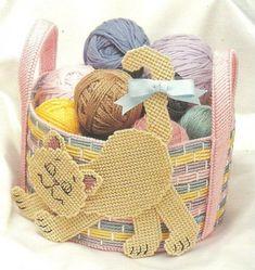 DIGITAL PATTERN  Kitty Cat All Occasion Basket   Gift Basket   Easter Basket 7 ct Plastic Canvas