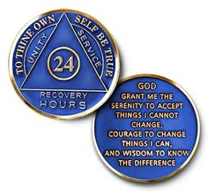 """Driscoll's Jewelry & Gifts ALCOHOLICS ANONYMOUS """"24 HR BLUE AND GOLD"""" ANNIVERSARY CIRCLE TRI-COLOR COIN MEDALLION Alcoholics Anonymous, Courage To Change, Sobriety, Unity, Jewelry Gifts, Anniversary, Gold, Blue, Yellow"""