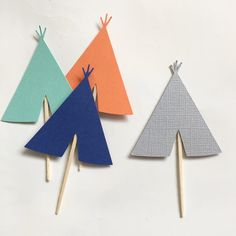 Your choice of colors this Set includes 12 teepee cupcake toppers! Perfect for your tribal party or boho chic bash! Please include 3 or less color choices in notes upon checkout