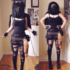 """My costume for Day 21 of 31 DIY's Til Halloween was my Mad Max/Walking Dead- inspired post-apocalyptic """"warrior princess"""" costume! This one is so much fun to DIY because you can basically just pull random items from your closet, garage, basement, etc. Aside from the faux-fur capelet and gas mask, this is basically what I wear every day, so this was one of the easiest costumes to put together.If you were living in a post-apocalyptic world, fighting zombies / robots / aliens ..."""