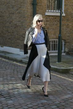 Jane Keltner de Valle added spunk to her polished Proenza pleats with a leather jacket.