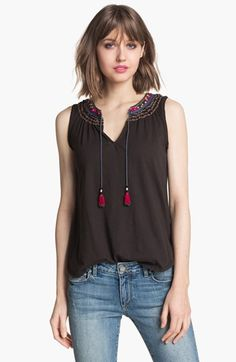 Easy breezy for summer while #prego. Ace Delivery 'Gemma' Embroidered Tassel Tank | Nordstrom