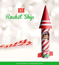 Elf On The Shelf Rocket Ship { FREE Printable } #elfontheshelf - this is a good way to have your elf show up on the first day back